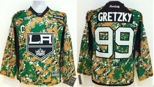 Kings #99 Wayne Gretzky Camo Veterans Day Practice Stitched Youth NHL Jersey