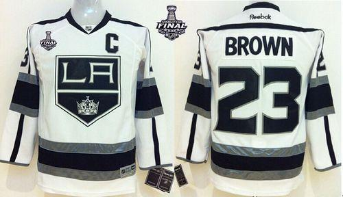 Kings #23 Dustin Brown White Road 2014 Stanley Cup Finals Stitched Youth NHL Jersey
