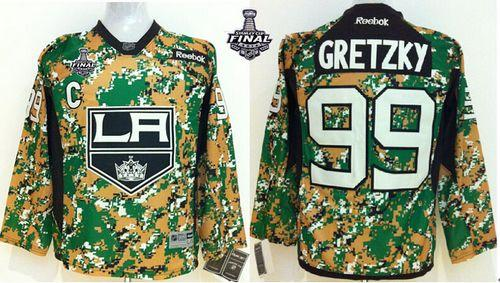 Kings #99 Wayne Gretzky Camo Veterans Day Practice 2014 Stanley Cup Finals Stitched Youth NHL Jersey