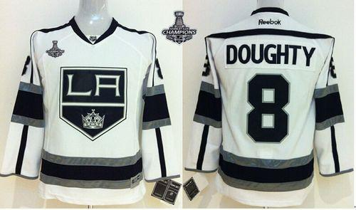 Kings #8 Drew Doughty White Road 2014 Stanley Cup Champions Stitched Youth NHL Jersey