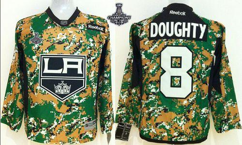 Kings #8 Drew Doughty Camo Veterans Day Practice 2014 Stanley Cup Champions Stitched Youth NHL Jersey