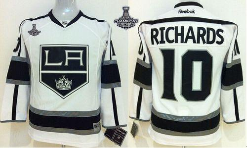 Kings #10 Mike Richards White Road 2014 Stanley Cup Champions Stitched Youth NHL Jersey