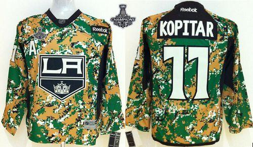 Kings #11 Anze Kopitar Camo Veterans Day Practice 2014 Stanley Cup Champions Stitched Youth NHL Jersey