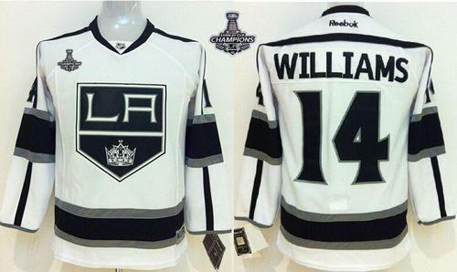 Kings #14 Justin Williams White Road 2014 Stanley Cup Champions Stitched Youth NHL Jersey