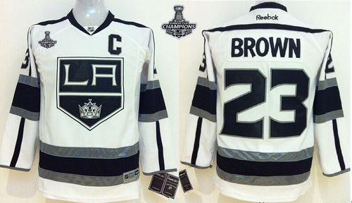 Kings #23 Dustin Brown White Road 2014 Stanley Cup Champions Stitched Youth NHL Jersey