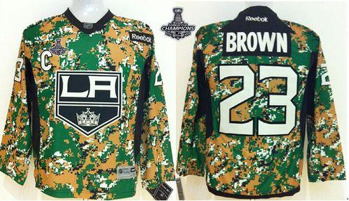 Kings #23 Dustin Brown Camo Veterans Day Practice 2014 Stanley Cup Champions Stitched Youth NHL Jersey
