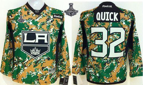 Kings #32 Jonathan Quick Camo Veterans Day Practice 2014 Stanley Cup Champions Stitched Youth NHL Jersey