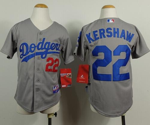 Dodgers #22 Clayton Kershaw Grey Cool Base Stitched Youth MLB Jersey
