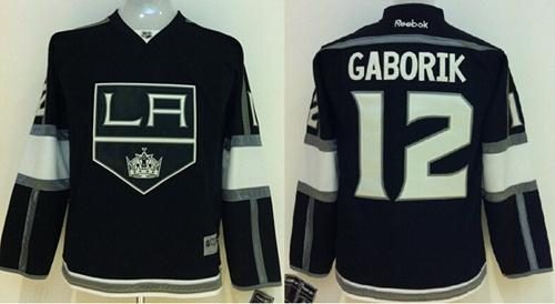 Kings #12 Marian Gaborik Black Home Stitched Youth NHL Jersey