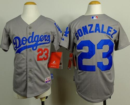 Dodgers #23 Adrian Gonzalez Grey Cool Base Stitched Youth MLB Jersey