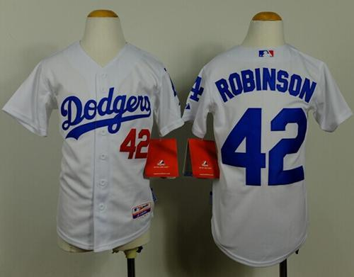 Dodgers #42 Jackie Robinson White Cool Base Stitched Youth MLB Jersey
