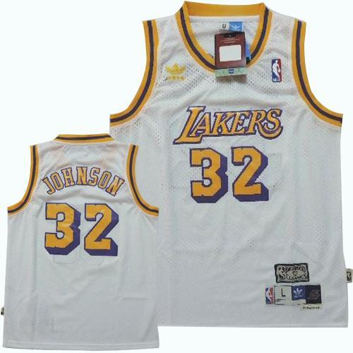 Lakers #32 Magic Johnson White Throwback Stitched Youth NBA Jersey