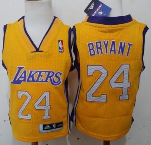 Toddler Lakers #24 Kobe Bryant Gold Stitched NBA Jersey