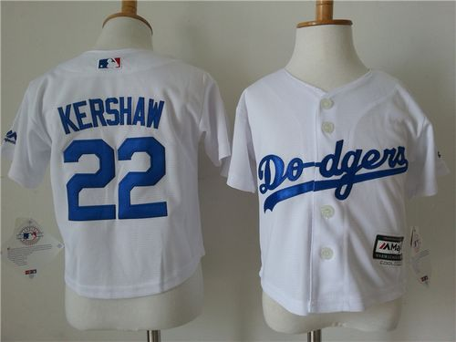Toddler Dodgers #22 Clayton Kershaw White Cool Base Stitched MLB Jersey