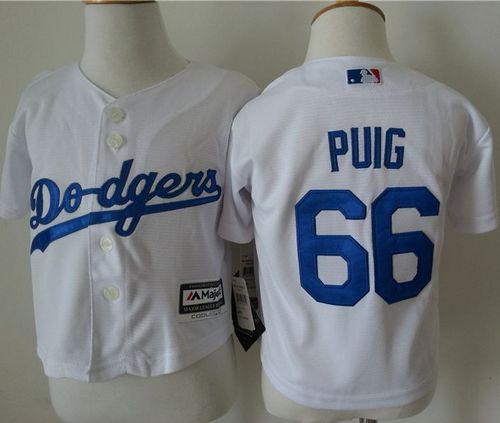 Toddler Dodgers #66 Yasiel Puig White Cool Base Stitched MLB Jersey