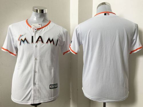 Marlins Blank White Cool Base Stitched Youth MLB Jersey