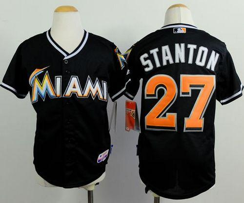 Marlins #27 Giancarlo Stanton Black Cool Base Stitched Youth MLB Jersey