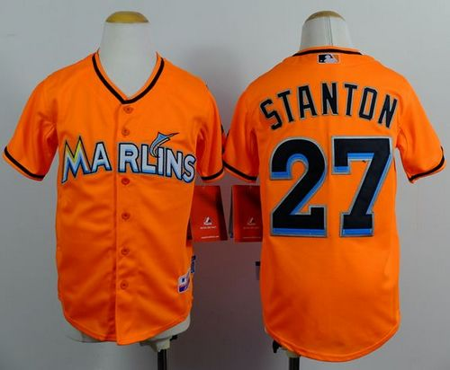 Marlins #27 Giancarlo Stanton Orange Cool Base Stitched Youth MLB Jersey