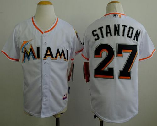 Marlins #27 Giancarlo Stanton White Cool Base Stitched Youth MLB Jersey