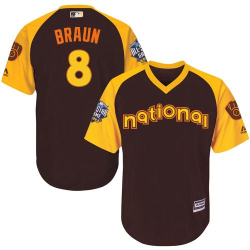 Brewers #8 Ryan Braun Brown 2016 All-Star National League Stitched Youth MLB Jersey