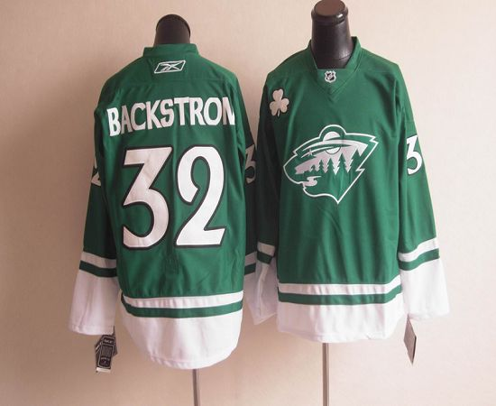 Wild St Patty's Day #32 Niklas Backstrom Green Youth Stitched NHL Jersey