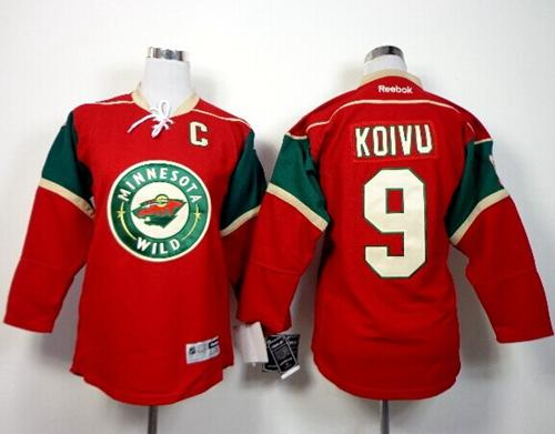 Wild #9 Mikko Koivu Red Home Stitched Youth NHL Jersey