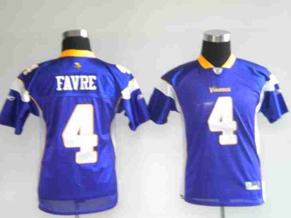 Vikings #4 Brett Favre Purple Stitched Youth NFL Jersey