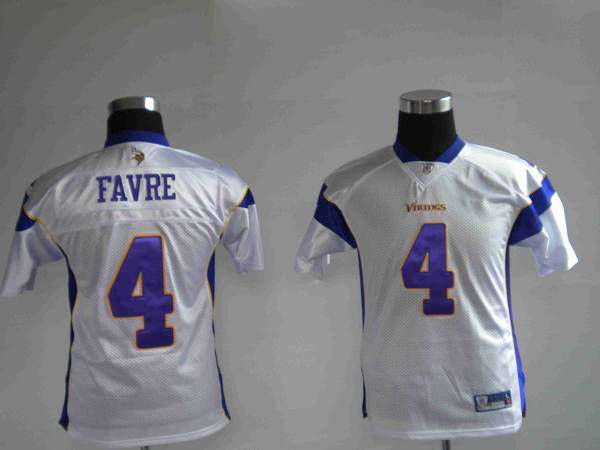 Vikings #4 Brett Favre White Stitched Youth NFL Jersey