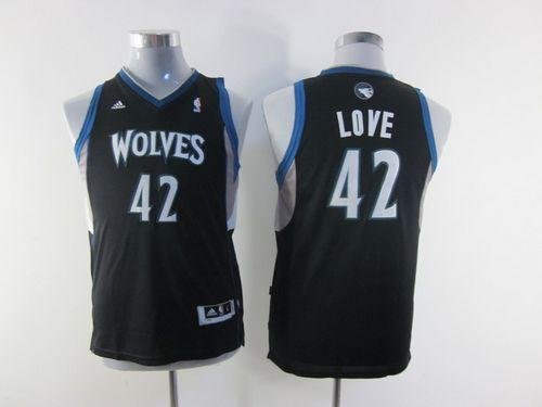 Timberwolves #42 Kevin Love Black Stitched Youth NBA Jersey
