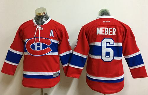 Canadiens #6 Shea Weber Red Stitched Youth NHL Jersey