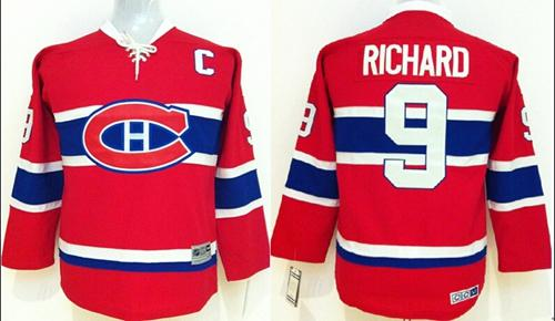 Canadiens #9 Maurice Richard Red CCM Throwback Stitched Youth NHL Jersey