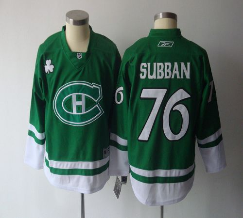 Canadiens #76 P.K. Subban Green St. Patty's Day Stitched Youth NHL Jersey