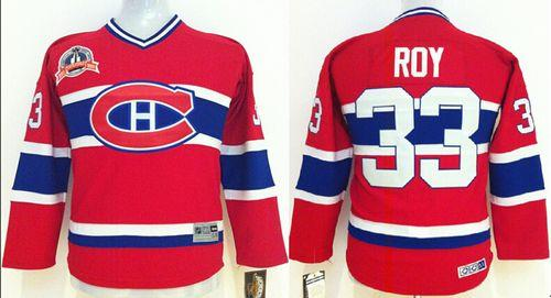 Canadiens #33 Patrick Roy Red CCM Throwback Stitched Youth NHL Jersey