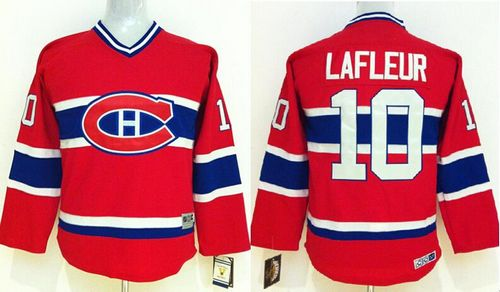 Canadiens #10 Guy Lafleur Red CCM Throwback Stitched Youth NHL Jersey