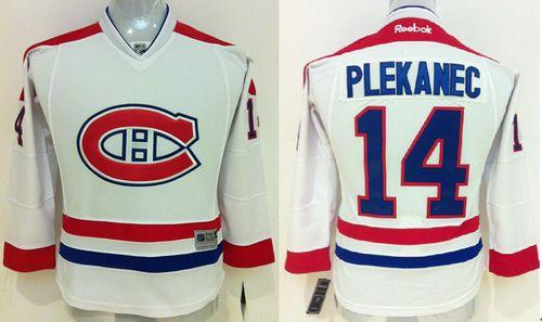 Canadiens #14 Tomas Plekanec White Stitched Youth NHL Jersey