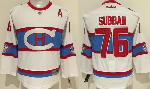 Canadiens #76 P.K Subban White 2016 Winter Classic Stitched Youth NHL Jersey