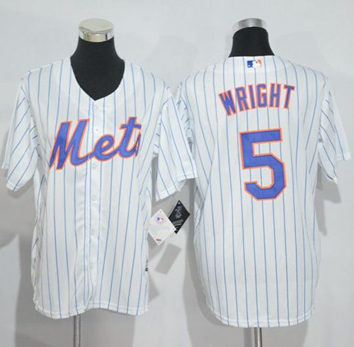Mets #5 David Wright White(Blue Strip) Home Cool Base Stitched Youth MLB Jersey