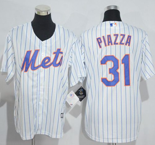 Mets #31 Mike Piazza White(Blue Strip) Home Cool Base Stitched Youth MLB Jersey