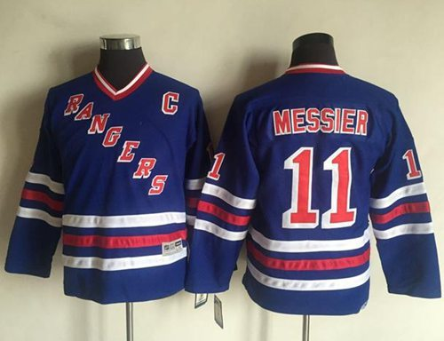 Rangers #11 Mark Messier Blue CCM Throwback Stitched Youth NHL Jersey
