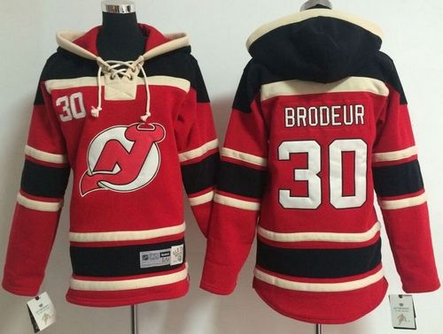 Devils #30 Martin Brodeur Red Sawyer Hooded Sweatshirt Stitched Youth NHL Jersey