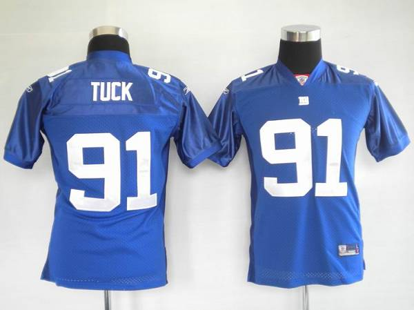 Giants #91 Justin Tuck Blue Stitched Youth NFL Jersey