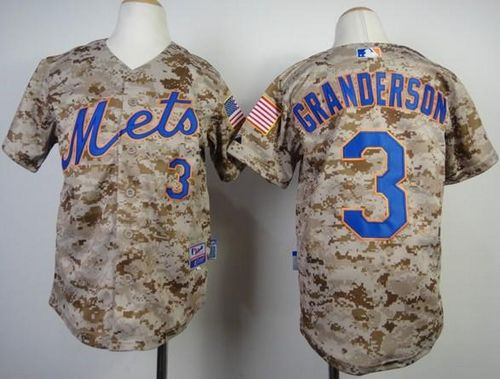 Mets #3 Curtis Granderson Camo Alternate Cool Base Stitched Youth MLB Jersey