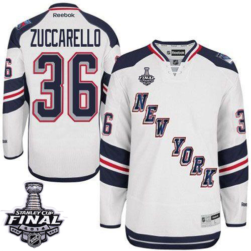 Rangers #36 Mats Zuccarello White 2014 Stadium Series With Stanley Cup Finals Stitched Youth NHL Jersey