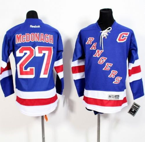 Rangers #27 Ryan McDonagh Blue Home Stitched Youth NHL Jersey