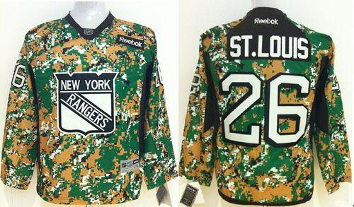 Rangers #26 Martin St.Louis Camo Veterans Day Practice Stitched Youth NHL Jersey