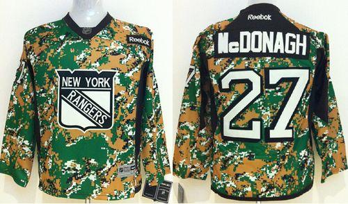 Rangers #27 Ryan McDonagh Camo Veterans Day Practice Stitched Youth NHL Jersey