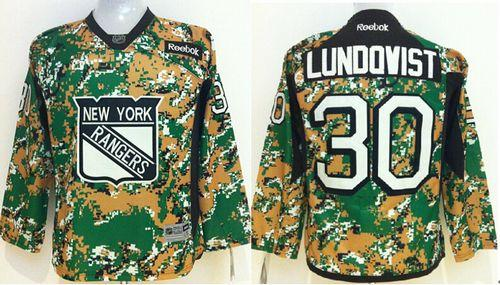 Rangers #30 Henrik Lundqvist Camo Veterans Day Practice Stitched Youth NHL Jersey