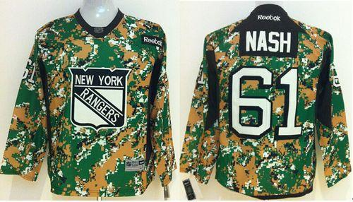Rangers #61 Rick Nash Camo Veterans Day Practice Stitched Youth NHL Jersey