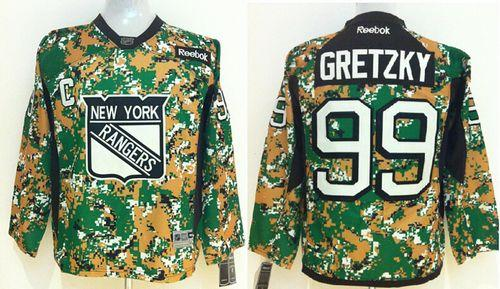 Rangers #99 Wayne Gretzky Camo Veterans Day Practice Stitched Youth NHL Jersey