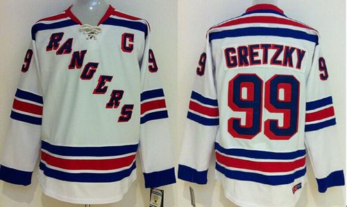Rangers #99 Wayne Gretzky White CCM Throwback Stitched Youth NHL Jersey